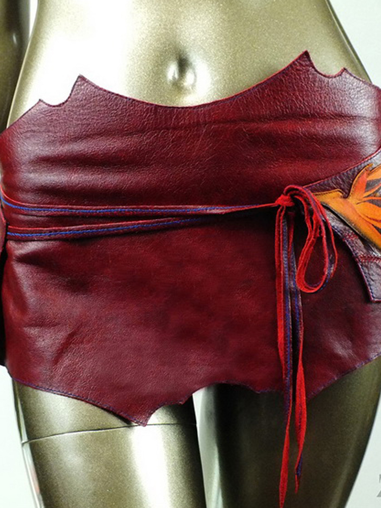 Indian Flower Leather Skirt