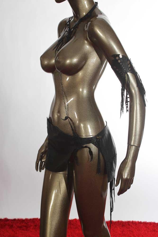 Midnight Scorpion Leather Skirt