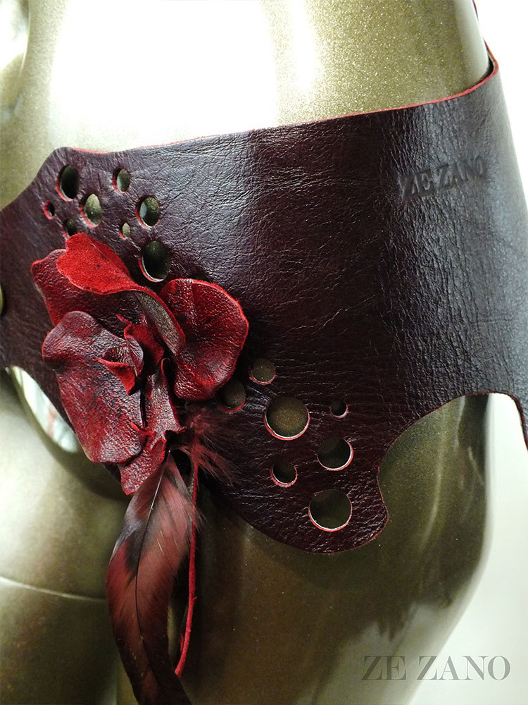 Merlot Blossom Leather Belt